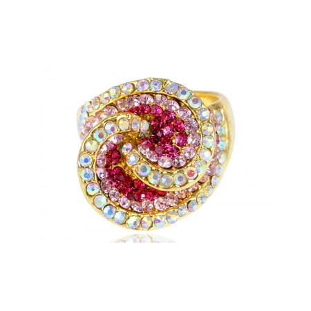(Fuchsia Rose Pink Gold Tone Swirly Flower Crystal Rhinestone Fashion Sized Ring)