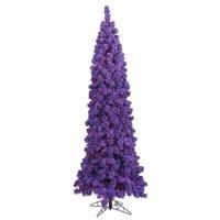 Flocked Purple Pencil Dura-Lit Christmas Tree with Purple LED Lights, 6.5 ft. x 27 in.