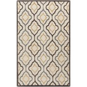 9' x 13' Moroccan Lattice Pearled Ivory, Java Brown and Gray Hand Tufted Wool Area Throw Rug