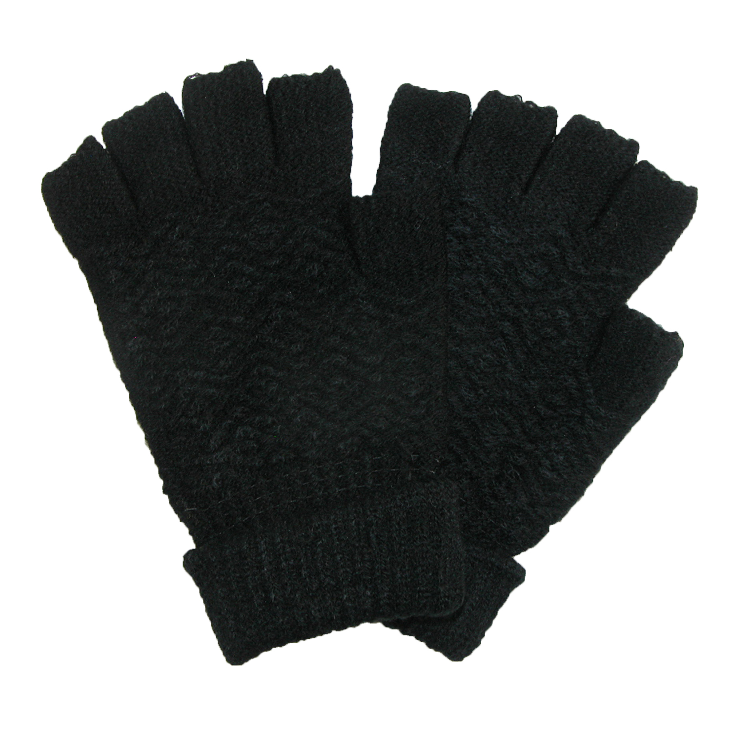 CTM®  Womens Chenille Fingerless Winter Gloves, Black