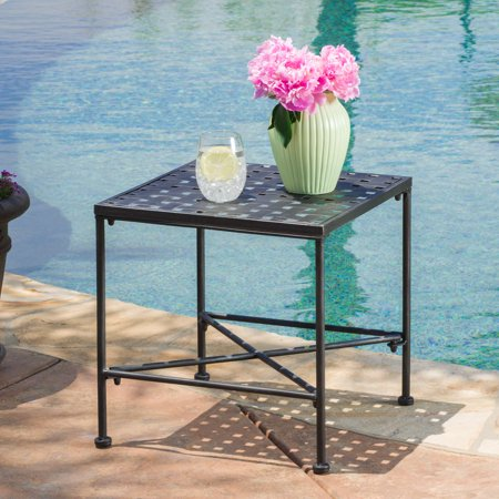 - Alexander Outdoor Iron End Table, Black