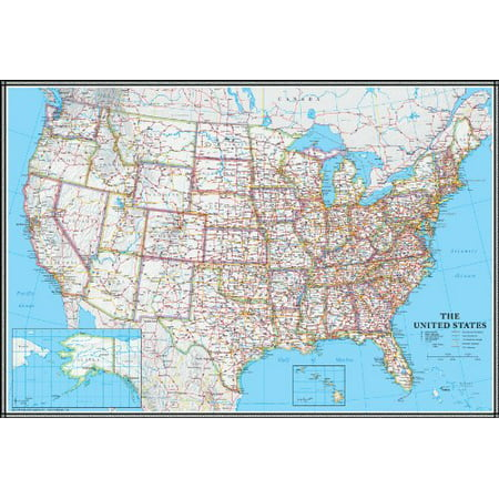 24x36 United States, USA US Classic Wall Map Poster Mural Political United States Wall Map