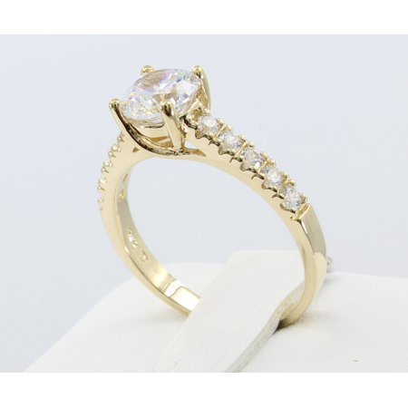 1.50 Ct 14K Real Yellow Gold Round Cut with Pave Set Side Stones 4 Prong Trellis Basket Setting Engagement Wedding Propose Promise Ring