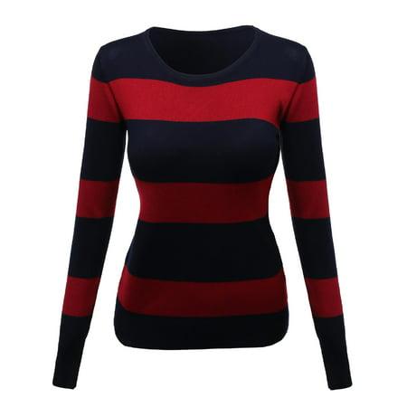 FashionOutfit Women's Contemporary Casual Viscose Nylon Textured Stripe Sweater (Viscose Nylon)