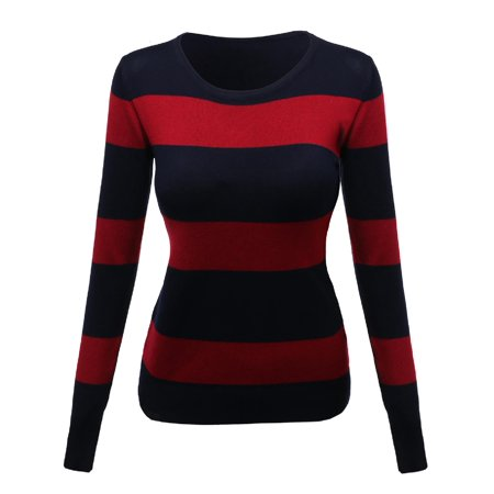 Embroidered Nylon Sweater (FashionOutfit Women's Contemporary Casual Viscose Nylon Textured Stripe Sweater)