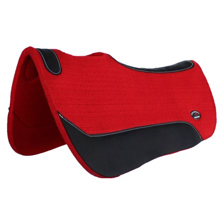 HORSE WESTERN WOOL FELT SADDLE PAD Contour Barrel Close Contact Red 39121RD1