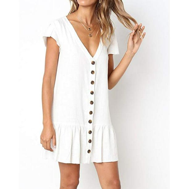 Womens V Neck Button Down Shirt Dresses Short Sleeve Ruffles Midi Skater Dress with Pockets