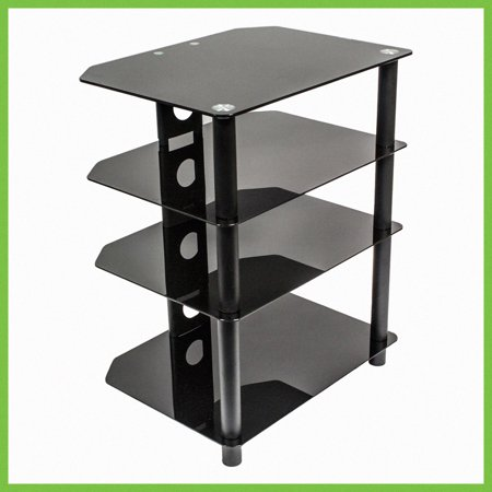 NavePoint Media Stand Glass 4 Shelf Audio Video Component Storage -