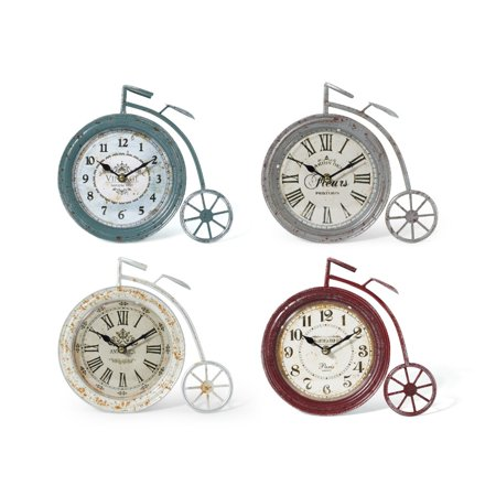 High Wheel Iron Bicycle Table Clocks Assortment of 4 Multicolor