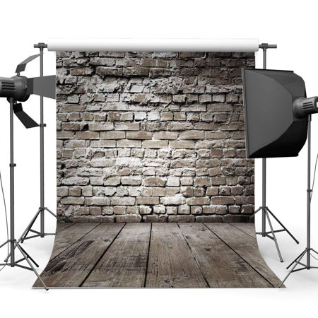 ABPHOTO Polyester 5x7ft Weathered Gloomy Brick Wallpaper Backdrop Rustic Stripes Wood Plank Photography Background for Kids Adults Happy Birthday Party Decoration Photo Studio Props