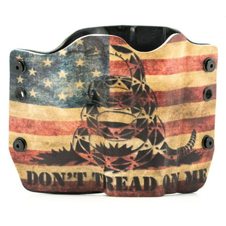 Outlaw Holsters: Don't Tread On Me Snake Flag OWB Kydex Gun Holster for Springfield XDS 3.3 w/Crimson Trace Red, Right Handed.](Red Rose Springfield)