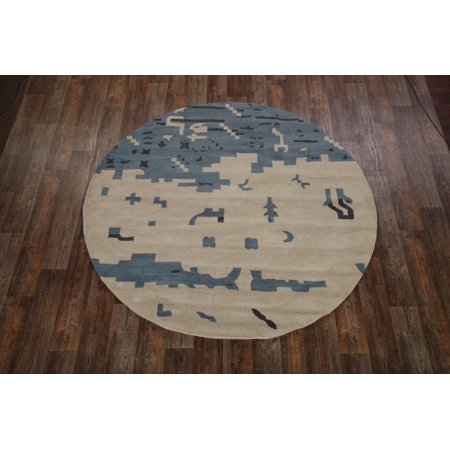 Hand-Tufted Modern 8 ft Round Oushak Indian Oriental Area Rug Wool ()