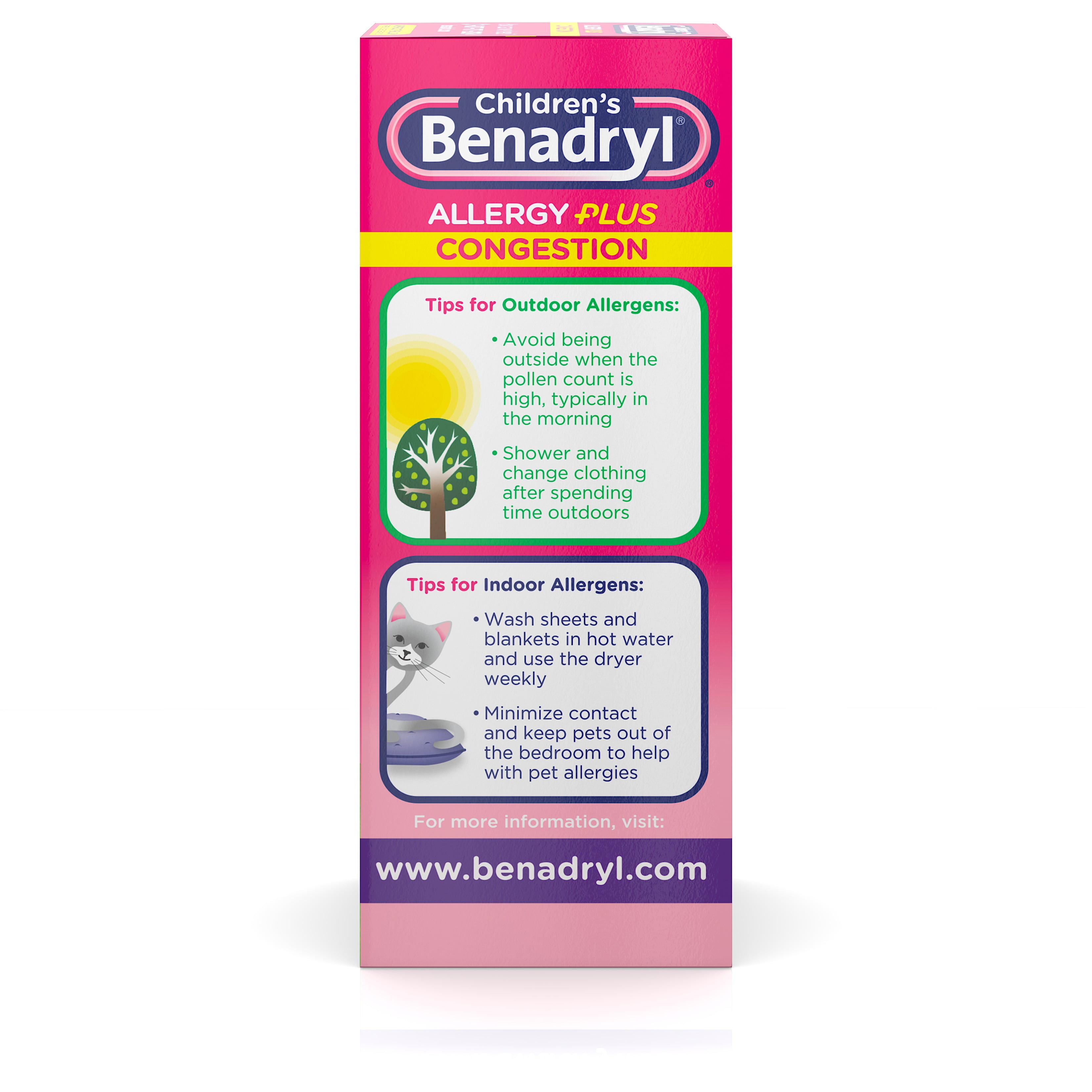Children's Benadryl Allergy Plus Congestion Liquid, Grape, 4 fl  oz