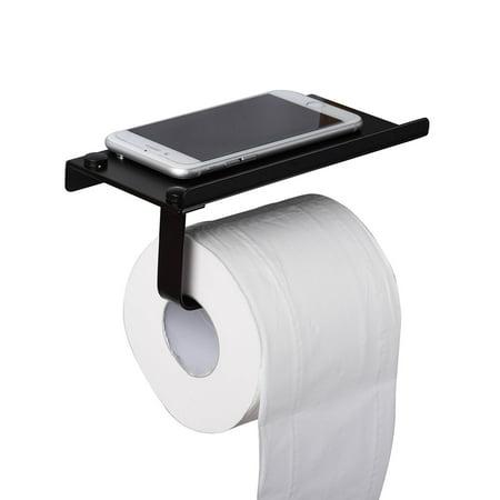 Toilet Paper Holder with Phone Shelf, Black Stainless Steel Tissue Holder - Wall Mount Tissue Roll Hanger for Bathroom Washroom, Space Aluminum, I2709