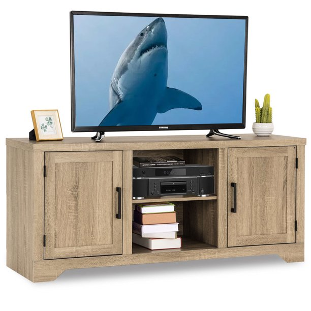 Gymax Rustic TV Stand Entertainment Center Farmhouse Console Storage Wood Cabinet
