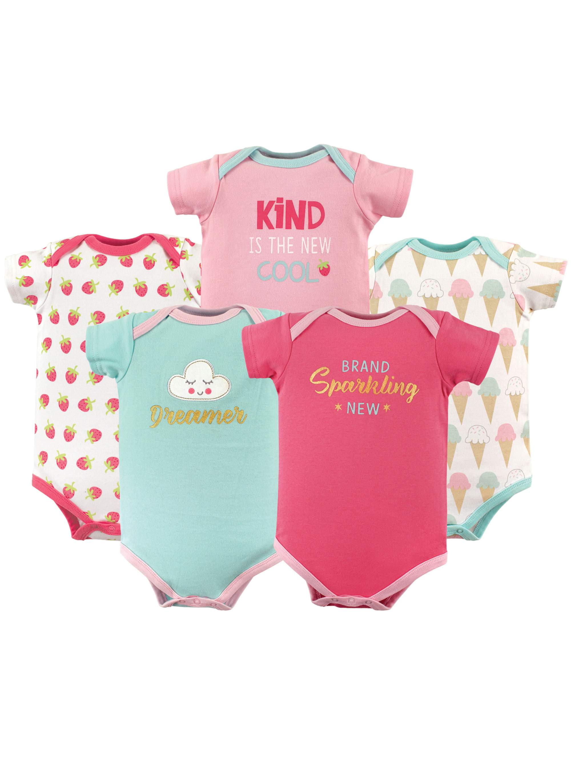 Basics Baby Girl Bodysuit Set, 5-pack