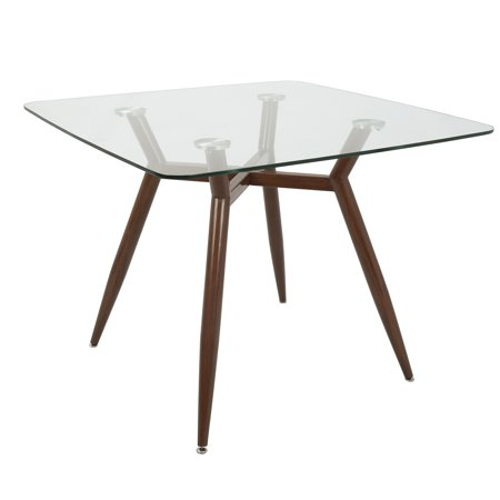 Clara Mid-Century Modern Square Dining Table with Walnut Metal Legs and Clear Glass Top by (Modern Clear Glass)