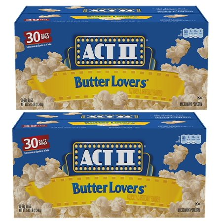 ACT II Butter Lovers Microwave Popcorn, 60-Count 2.75-oz. Bags