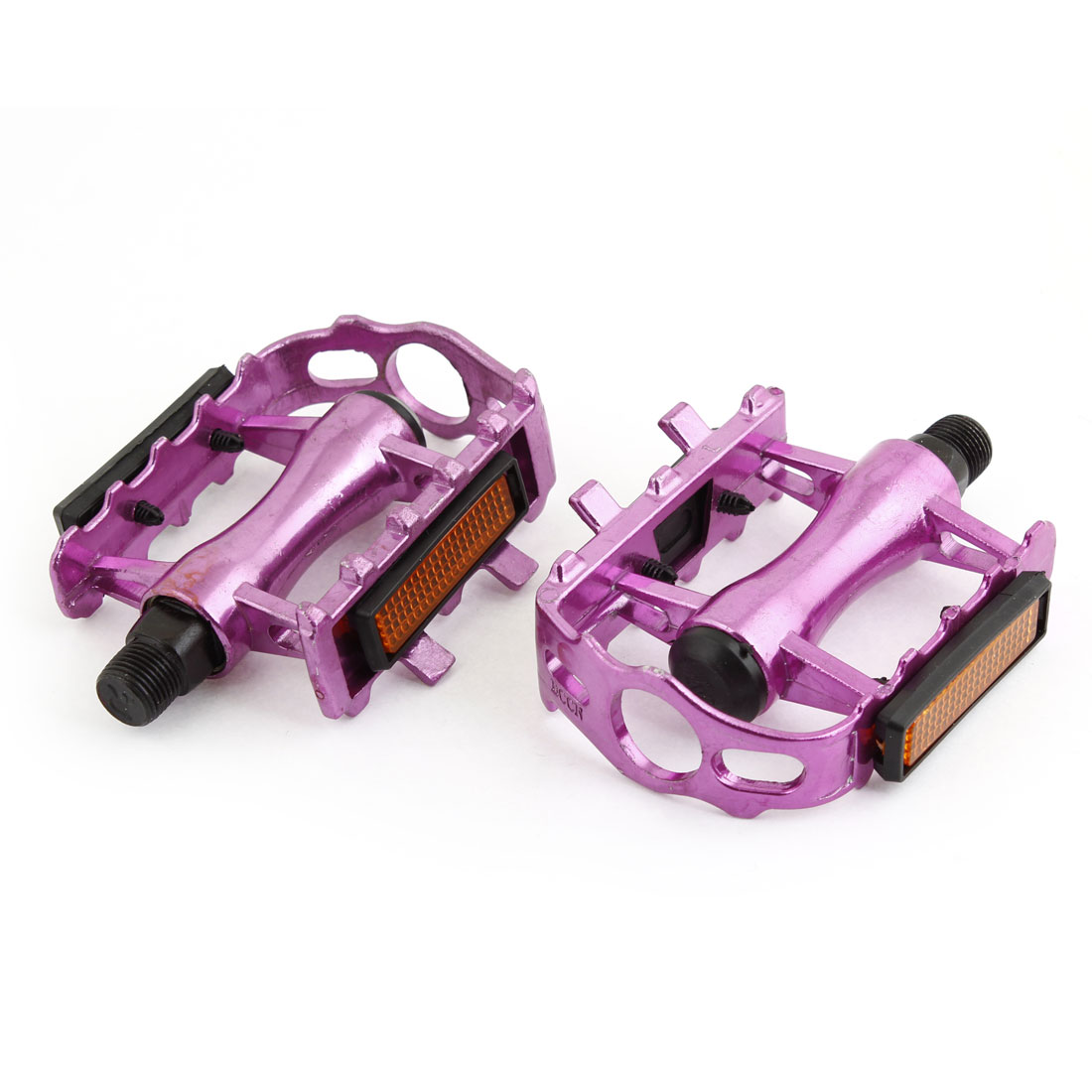 Racing Mountain Bicycle Fuchsia Nonslip Foot Plate Platform Pedal Pair