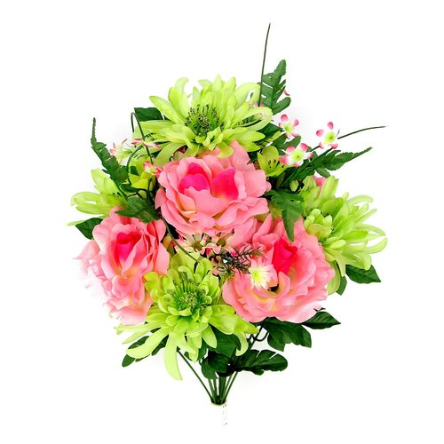 Charlton Home 14 Stems Artificial Rose, Mum Flower Mixed Bush with Greenery Foliage