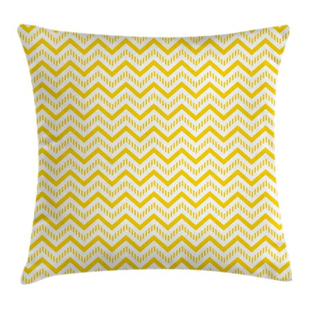 Yellow Decor Throw Pillow Cushion Cover, Chevron Abstract Zig Zag Pattern Striped Cool Geometric 90s Style Art, Decorative Square Accent Pillow Case, 16 X 16 Inches, White and Yellow, by (Abstract Decorative Art)