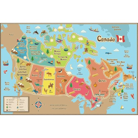 Wpe1391 Kids Canada Dry Erase Map Decal  Dry Erase Surface By Wall Pops