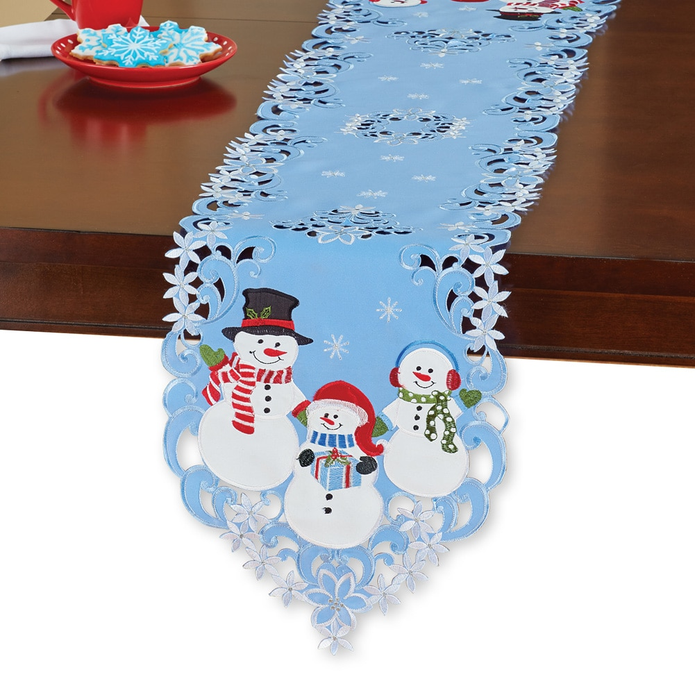 Holiday Snowmen Blue Christmas Table Linens, Square by Collections Etc