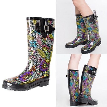 SheSole Mid Calf Tall Rain Boots for Women Waterproof Rubber Wellies Floral