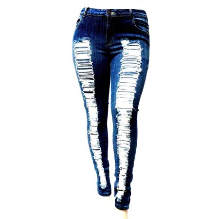171522447a7 JACK-D WOMENS PLUS SIZE Stretch Distressed Ripped BLUE SKINNY DENIM JEANS  PANTS (JD-SPBB-N629-R) - Walmart.com