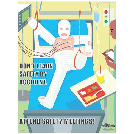 Attend Safety Meetings Safety Poster  (18 by 24 inch)