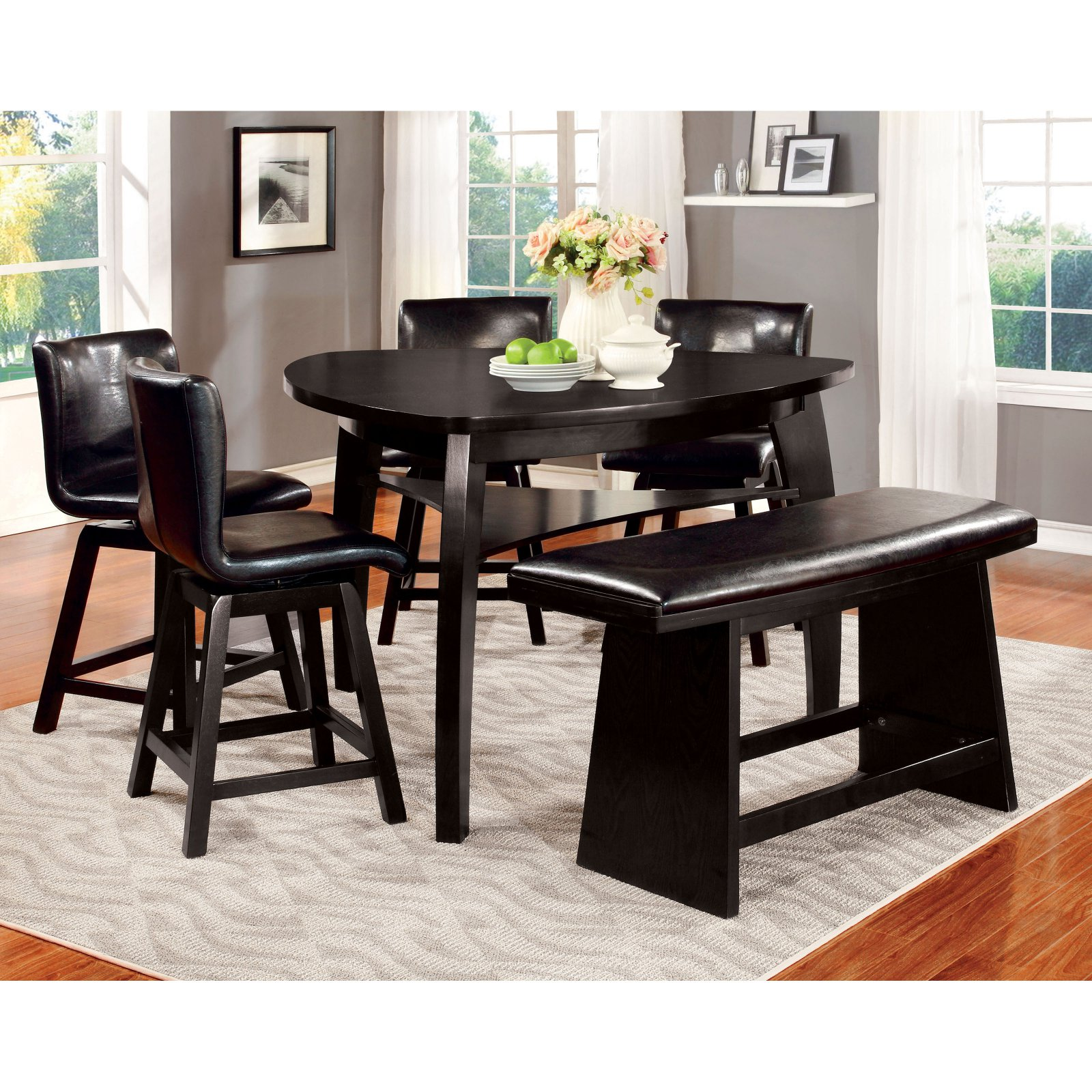 Furniture of America Rathbun Modern 6 Piece Counter Height Dining Table Set...