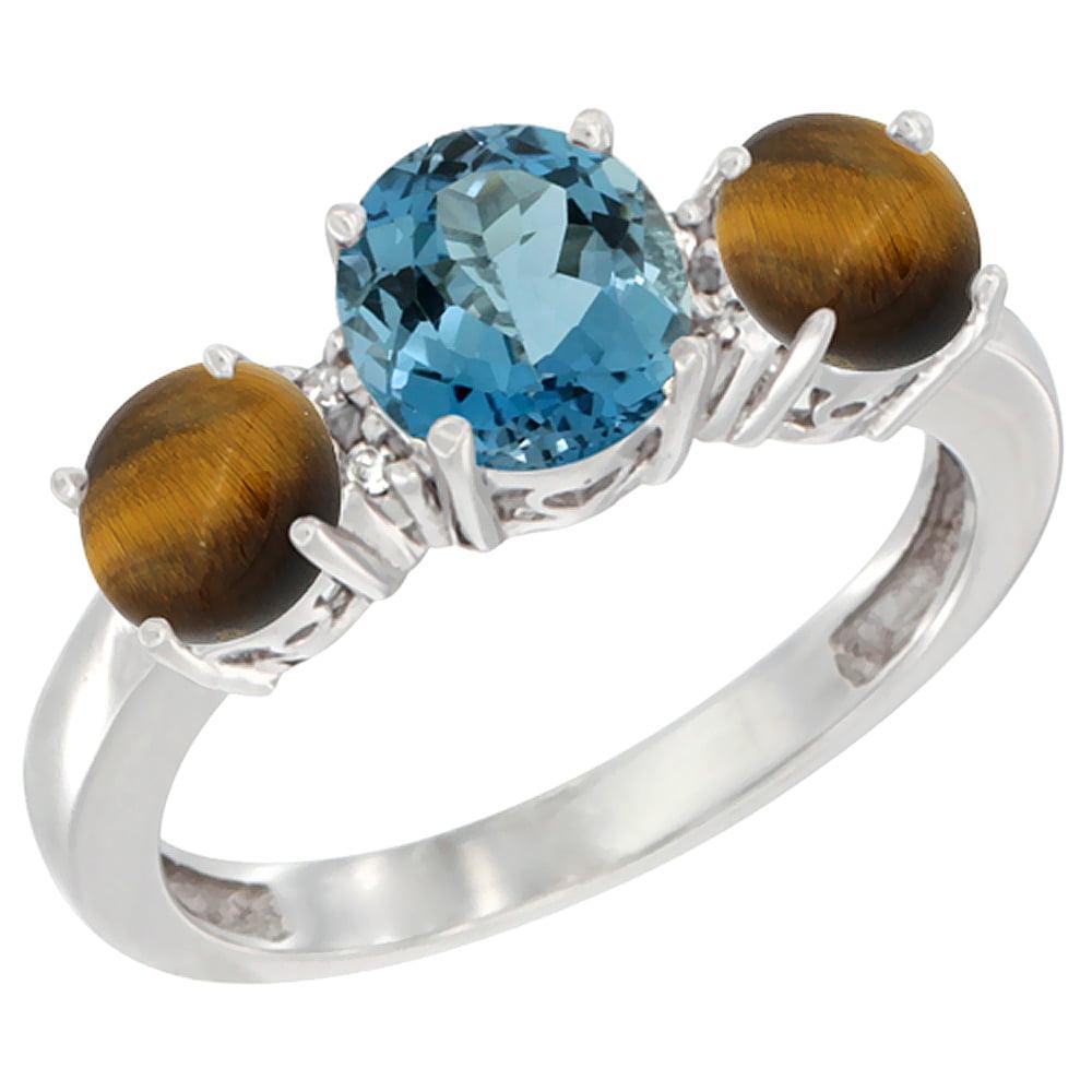 10K White Gold Round 3-Stone Natural London Blue Topaz Ring & Tiger Eye Sides Diamond Accent, sizes 5 - 10