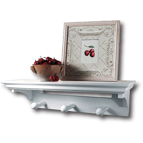 Shelf with Pegs, White, 17''