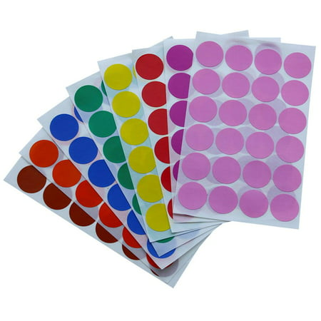 Color label stickers 1 inch 25 mm Colored dots in Green, Yellow, Pink, Purple, Orange, Brown, Blue and Red dot sticker - 768 Pack by Royal Green (Colored Stickers)