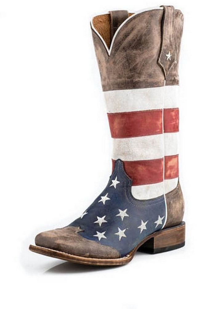 Roper Western Brown Boots Womens American Flag Brown Western 09-021-7001-0107 BR 4fc508