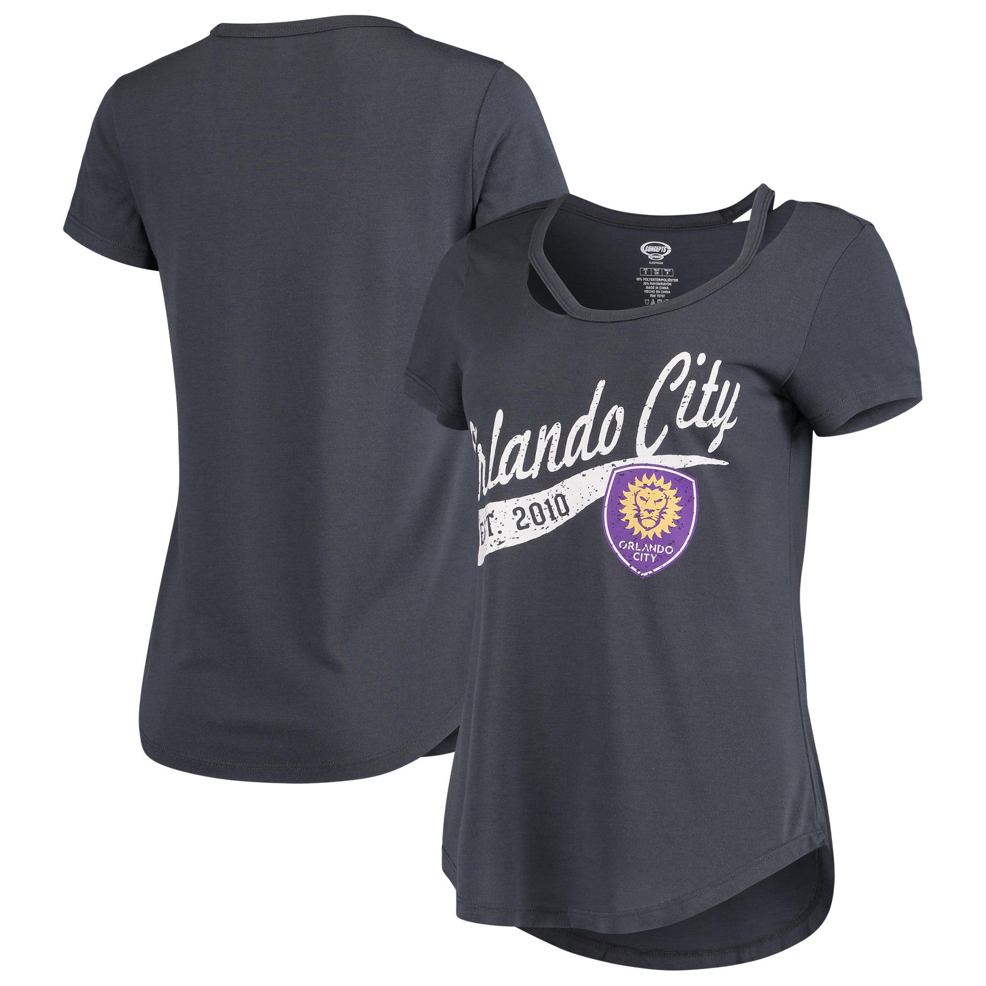 Orlando City SC Concepts Sport Women's Squad Cut Neck T-Shirt - Charcoal
