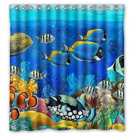 XDDJA Coloful Sea Fish Shower Curtain Waterproof Polyester Fabric Shower Curtain Size 66x72 inches - image 1 de 1