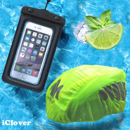 Universal Hi Float (Waterproof Bike Bicycle Helmet Cover + Floating Waterproof Case,IClover Rain Cover Night Visual High Visibility & Universal Dry Bag Pouch for Apple Samsung up to 5.5'' with Neck Strap )
