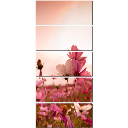 Design Art 'Meadow with Beautiful Cosmos Flowers' 5 Piece Photographic Print on Wrapped Canvas Set