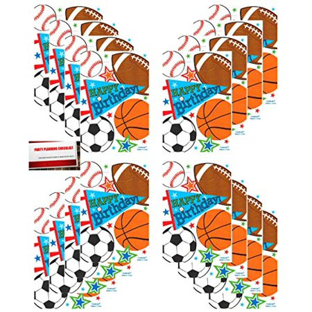 Soccer Party Bags (Sports Party 16 Pack Baseball Basketball Football Soccer Plastic Loot Treat Candy Favor Bags (Plus Party Planning Checklist by Mikes Super)
