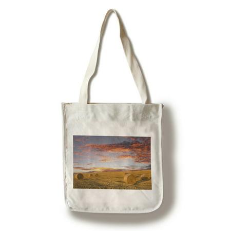 Hay Bales - Lantern Press Photography (100% Cotton Tote Bag - Reusable) (Hay Bale Bag)