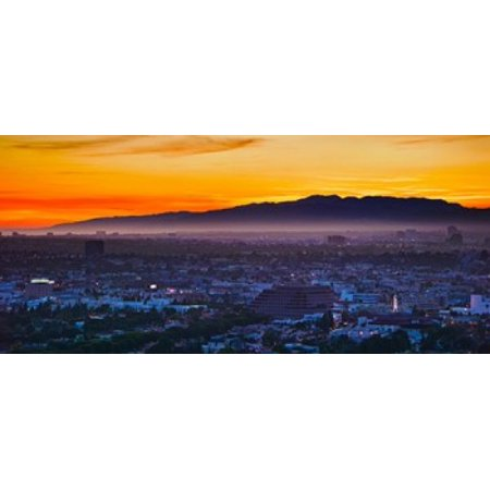 Buildings in a city with mountain range in the background Santa Monica Mountains Los Angeles California USA Poster Print (Party City Santa Monica)