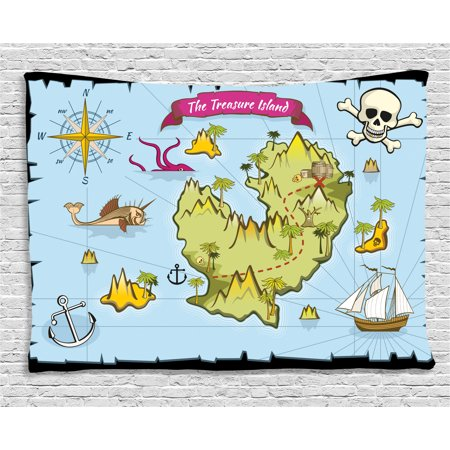 Island Map Decor Tapestry, Treasure Island Skul Nautical Design Pirate Theme Fictional Fish Kids Room, Wall Hanging for Bedroom Living Room Dorm Decor, 60W X 40L Inches, Multi, by Ambesonne](Pirate Theme Decor)