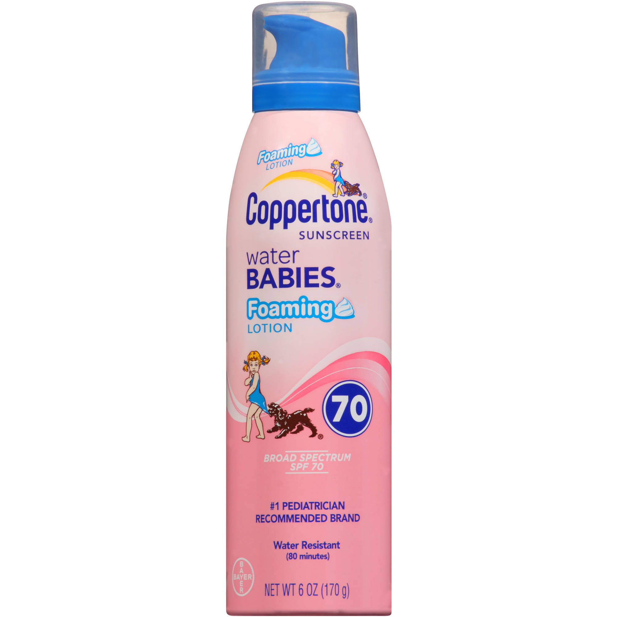 Coppertone Water Babies Foaming Lotion Sunscreen, SPF 70, 6 oz