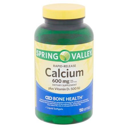 Spring Valley Rapid-Release Calcium Softgels, 600 mg, 150 (Liquid Calcium)