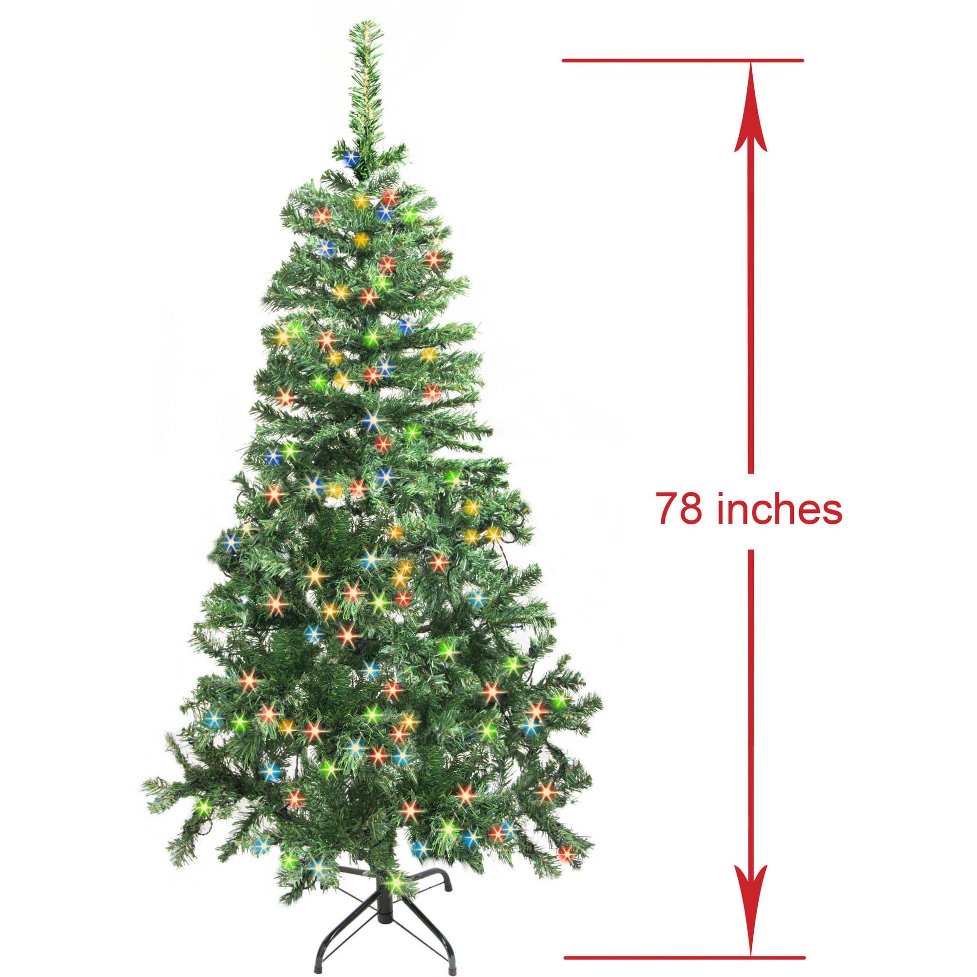 ALEKO CT78H250MC Pre-Lit Artificial Pine Christmas Tree, 6.5\', Green ...