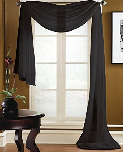 """Gorgeous Home 1 PC SOLID BLACK SCARF VALANCE SOFT SHEER VOILE WINDOW PANEL CURTAIN 216"""" LONG TOPPER SWAG"""