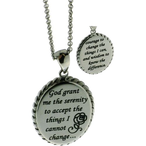 Connections from Hallmark Stainless Steel Oval Serenity Prayer Pendant