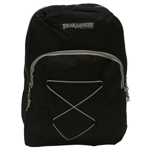 TrailMaker Boys Girls Black Padded Adjustable Straps Bungee Backpack