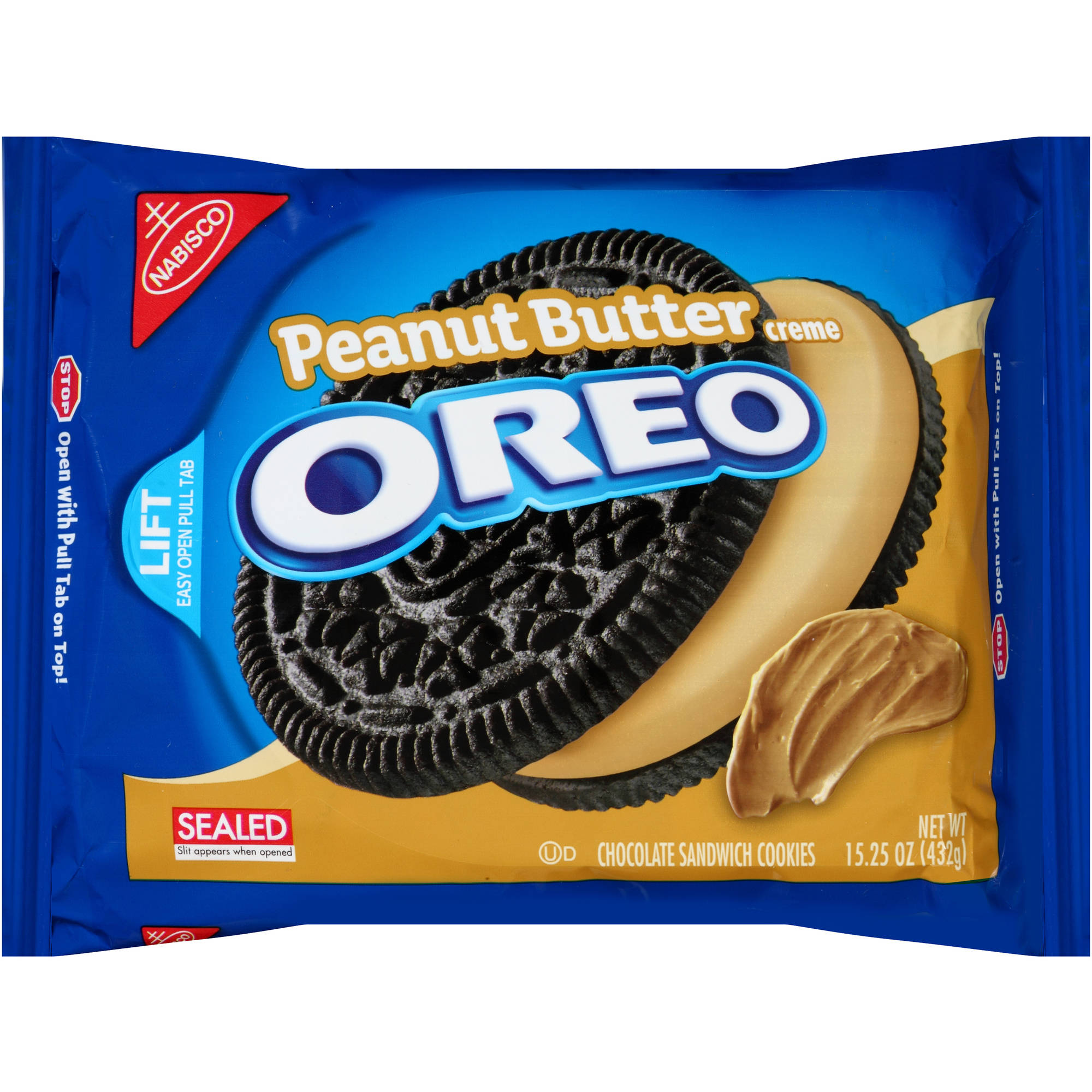 Nabisco Oreo Peanut Butter Creme Chocolate Sandwich Cookies, 15.25 oz